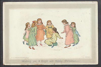 C5201 Victorian Xmas Card: Girls Playing, JM Dealey
