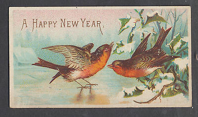 C5202 Small Victorian New Year Card: Robins