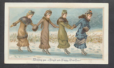 C5225 Victorian New Year Card: Ladies on Ice Slide