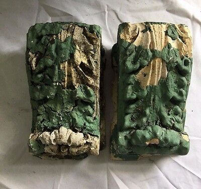 "Antique Pair(2) 1900's Plaster Corbels Church White Green 3.5"" x  6""  370-17"