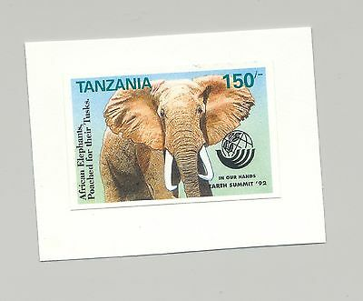 Tanzania #958 Elephant, Animals, 1v. imperf proof mounted on card