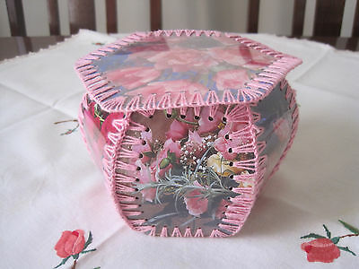 Vintage Hand Made From Laminated Cards Hanky Or Trinket Box