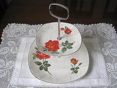 Retro Midwinter Stylecraft Large Red Roses Two Tier Cake Stand