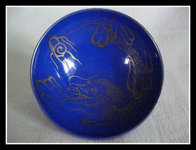 Chinese Dragon Cobalt Blue Gold Small Dish Bowl Marked