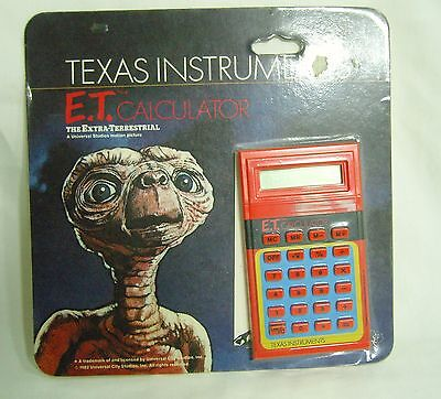 Texas Instruments E.T. - Vintage LCD Pocket Calculator Carded and Unopened 1982