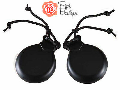 New Real Wood Black Spanish Flamenco Castanets 9 x 7cm