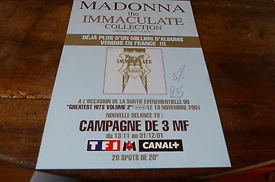 MADONNA - Plan média / Press kit !!! THE IMMACULATE COLLECTION !!!