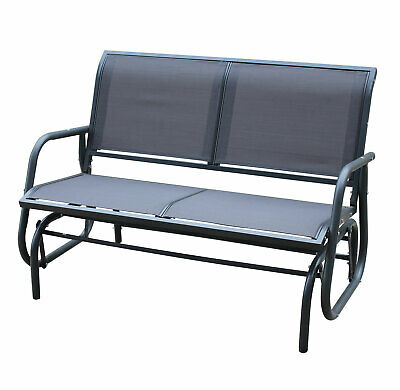 Charles Bentley 2 Seater Glider Rocking Bench With Mesh Seat - Grey