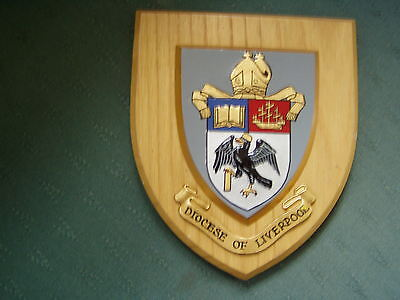 Diocese Of Liverpool Crest - Coat Of Arms Armorial Wooden Shield Plaque