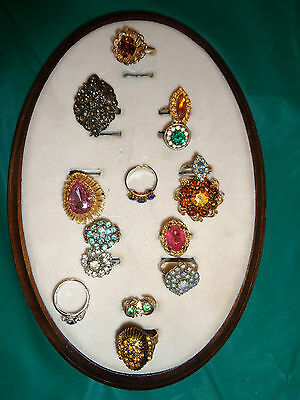 Lot of 15PC Gold & Silvertone Multi Color Rhinestone Adjustable Rings