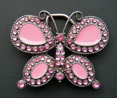 Butterfly Rhinestones Pink Fashion Belt Buckle Boucle De Ceinture