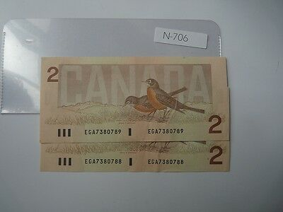 2 X Canada   Banknote 1986 2  Dollar Sequance Number     N706
