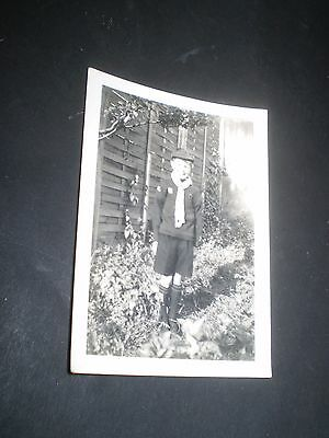 social history 1930's cute boy cub uniform scout fashion photograph 3.3'inch