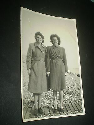 social history 1940's winter seaside fashion coats women  photograph 6x4