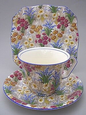 Royal Winton - Marguerite - Tea Cup Saucer And Plate - 1930's - Blue Trim - #2