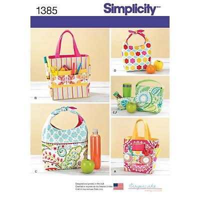 SIMPLICITY SEWING PATTERN Art Caddies, Lunch Bags and Snack Bag 1385