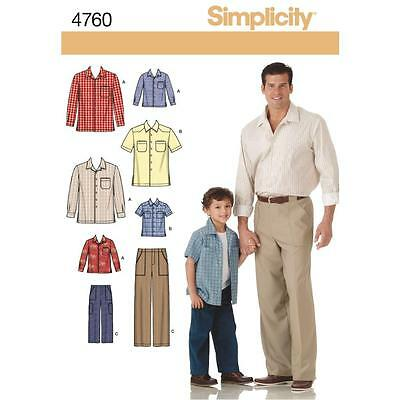 Simplicity Sewing Pattern Boy's & Men's Pants & Shirt Size S - Xl 4760