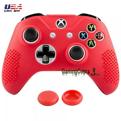 Game Soft Silicone Sleeve Skin Cover Thumb Grip for XBOX ONE S Controller Red