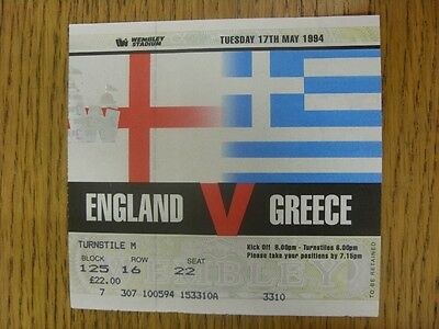17/05/1994 Ticket: England v Greece [At Wembley] (light fold).  We are pleased t