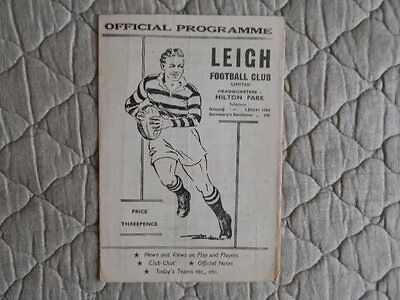 1959/60 Leigh V Blackpool Rugby League Match Programme