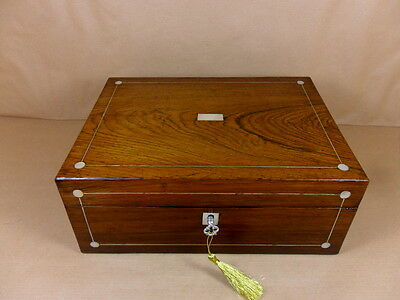 ANTIQUE GEORGE IV / WILLIAM IV  ROSEWOOD JEWELLERY/SEWING  BOX.C1830-1837(Cd 420