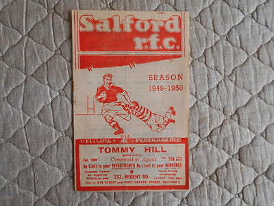 1949/50 Salford V Oldham Rugby League Match Programme