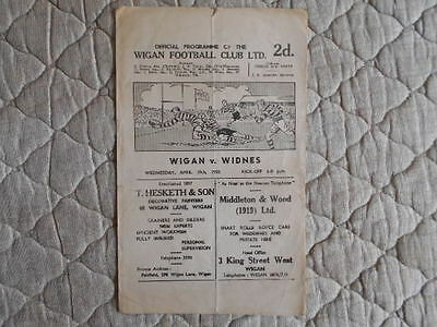 1949/50 Wigan V Widnes Rugby League Match Programme