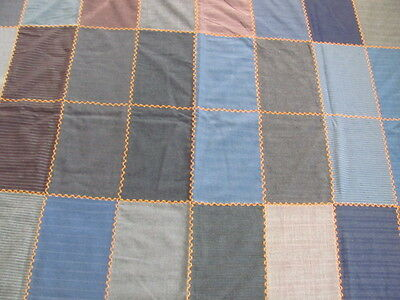 Vintage wool mens suit samples feather stitched flannel backed quilt