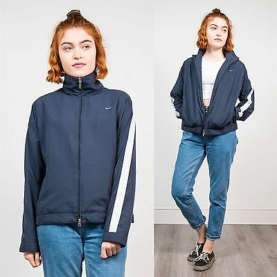 Nike Womens Vintage 90's Tracksuit Jacket Navy Blue Sports Track Top Casual 8 10