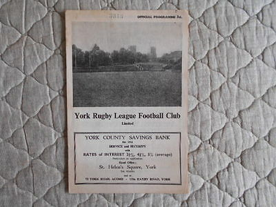 1961/62 York V Wakefield Rugby League Cup 3Rd Round Match Programme