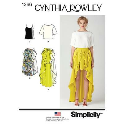 SIMPLICITY SEWING PATTERN Misses' Skirt Top Cynthia Rowley Collection 4-20 1366