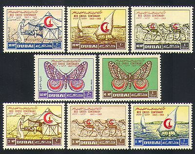 Dubai 1963 Red Cross/Crescent/Butterflies/Boats/Health/Medical 8v set (n32745)