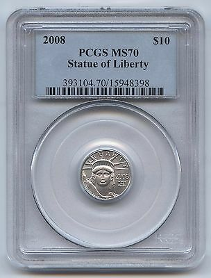 2008 1/10th oz. Platinum Eagle $10 PCGS MS70, Statue of Liberty