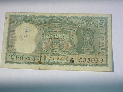 2x 5 RUPEE ORNAMENT DIAMOND NUMBER 4 DEER VERY OLD NOTE INDIA Extremley Rare