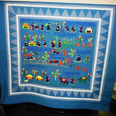 Vintage HMONG Story Cloth PA NDAU Art Asian Wall Hanging Tapestry-FOLK ART