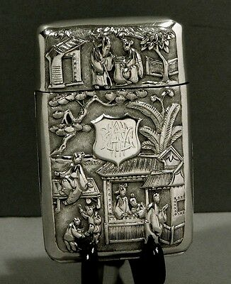 Chinese Export Silver Box    Kwan Wo  c1890            Flip Top Open Side Form