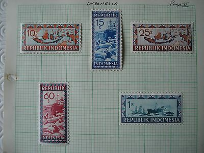 5 x very large mint Indonesian stamps - Vienna Issues (1948/9)