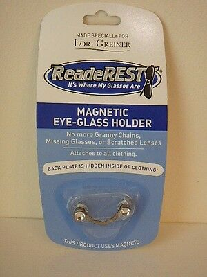 Readerest Silvertone With Crystal Magnetic Holder By Lori Greiner New Free Ship