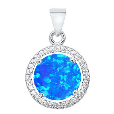 Round Blue Opal Halo & Cubic Zirconia  .925 Sterling Silver Pendant