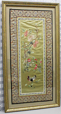 Highly Detailed Framed 27x14 Chinese Silk Embroidery w/Birds & Flowers