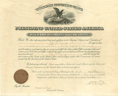 William H. Taft - Civil Appointment Signed 12/01/1911 With Co-Signers