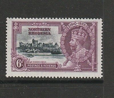 Northern Rhodesia 1935 Silver Jubilee 6d MM SG 21 wth overinking flaw