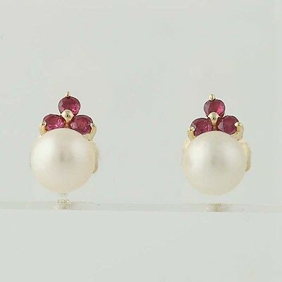 Cultured Pearl & Ruby Cluster Earrings - 14k Yellow Gold Pierced Studs