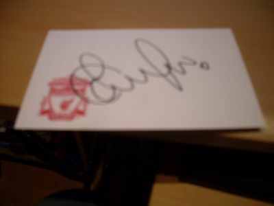 signed card of ex liverpool goalkeeper scott carson