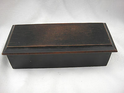 Lovely Quality Ebony Small Trinket Box With Hinged Lid & Fabric Lined Base