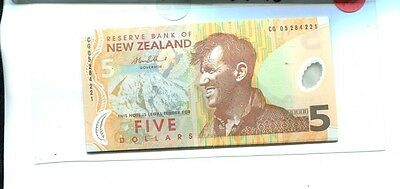 New Zealand 1999 $5 Currency Note Choice Cu 2423J