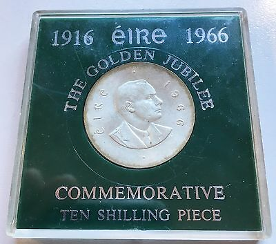 1966 CASED Ireland Eire Pearse Easter Uprising 10 Shilling Silver 800 coin *9708