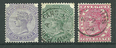 QV Mauritius SG101, 103 & 105 1 cent to 4 cents - Used