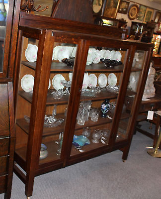 Antique Mission Oak China or Curio Cabinet - Arts and Crafts Style Plate Display