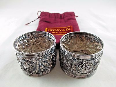 Antique TIFFANY & CO. Sterling Silver Napkin Rings Purple Pouch Bag Vintage 640C